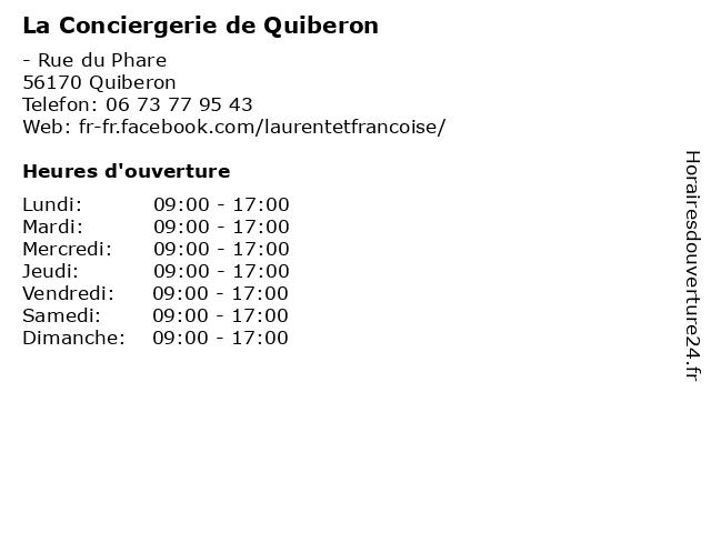 La Conciergerie de Quiberon à Quiberon: adresse et heures d'ouverture