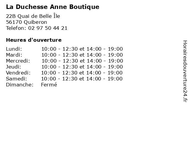 La Duchesse Anne Boutique à Quiberon: adresse et heures d'ouverture