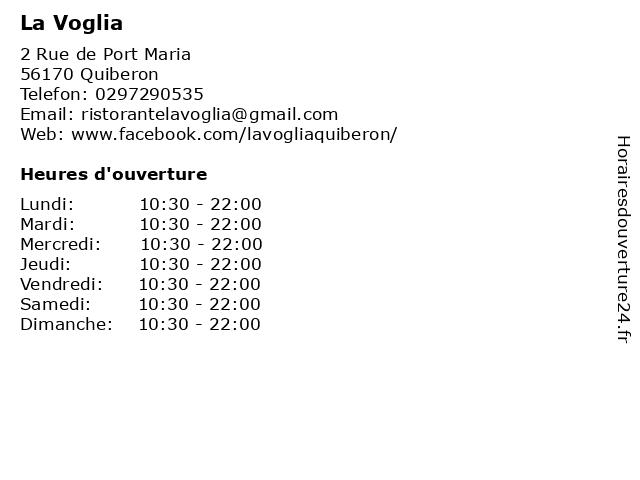 La Voglia à Quiberon: adresse et heures d'ouverture