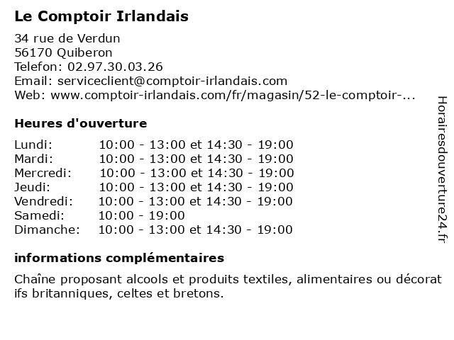 Le Comptoir Irlandais à Quiberon: adresse et heures d'ouverture
