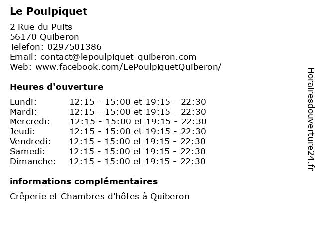 Le Poulpiquet à Quiberon: adresse et heures d'ouverture