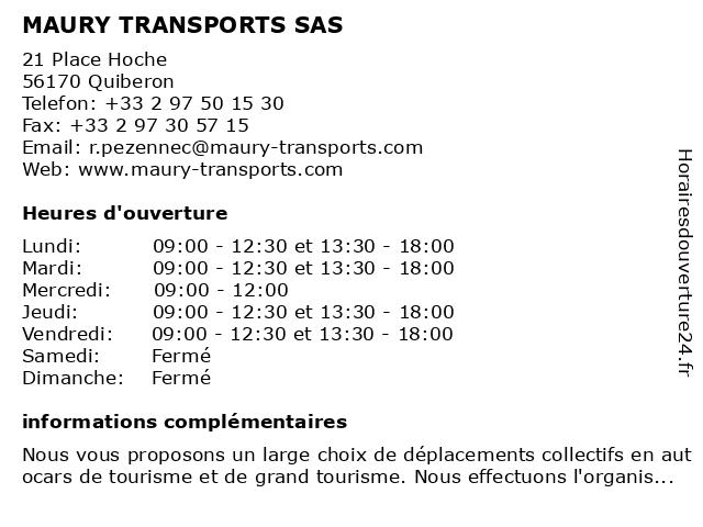 MAURY TRANSPORTS SAS à Quiberon: adresse et heures d'ouverture