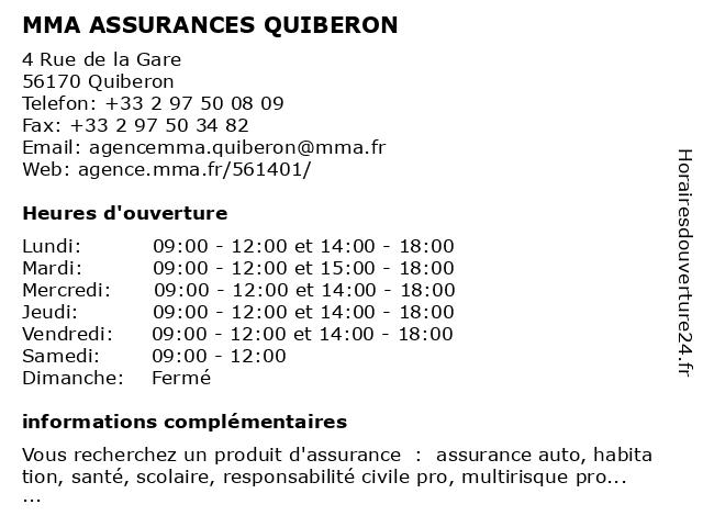 MMA ASSURANCES QUIBERON à Quiberon: adresse et heures d'ouverture