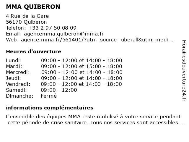MMA QUIBERON à Quiberon: adresse et heures d'ouverture