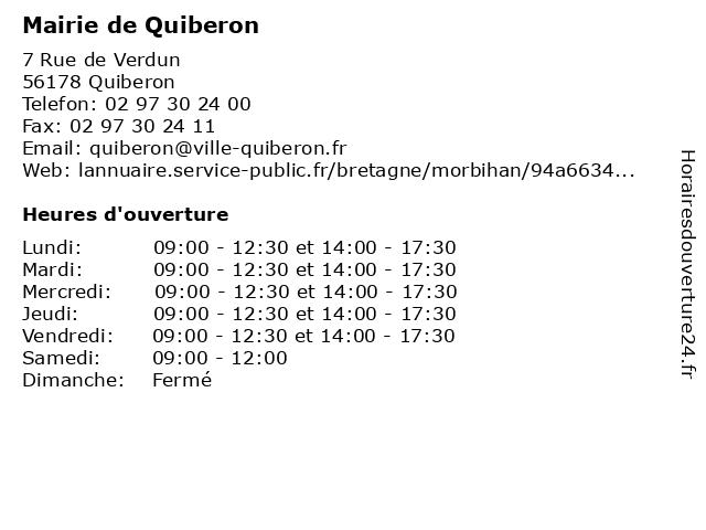 Mairie de Quiberon à Quiberon: adresse et heures d'ouverture