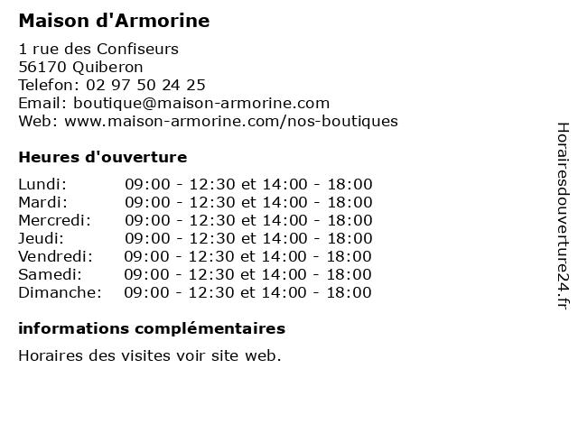 Maison d'Armorine à Quiberon: adresse et heures d'ouverture
