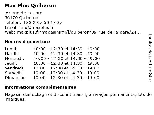 Max Plus Quiberon à Quiberon: adresse et heures d'ouverture