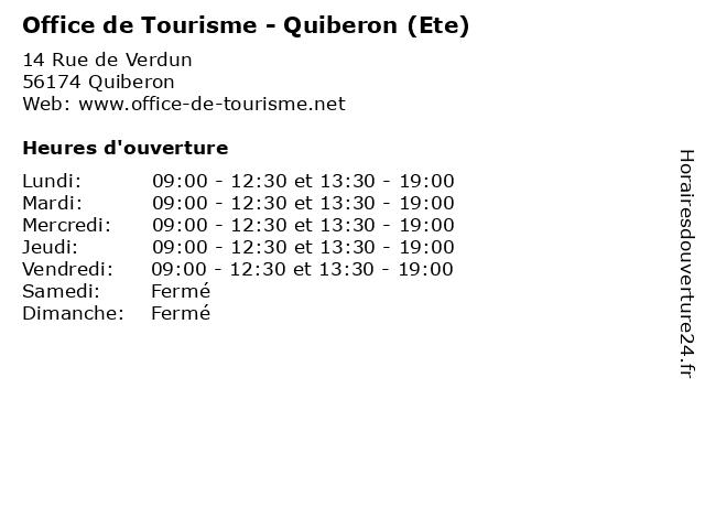 Office de Tourisme - Quiberon (Ete) à Quiberon: adresse et heures d'ouverture