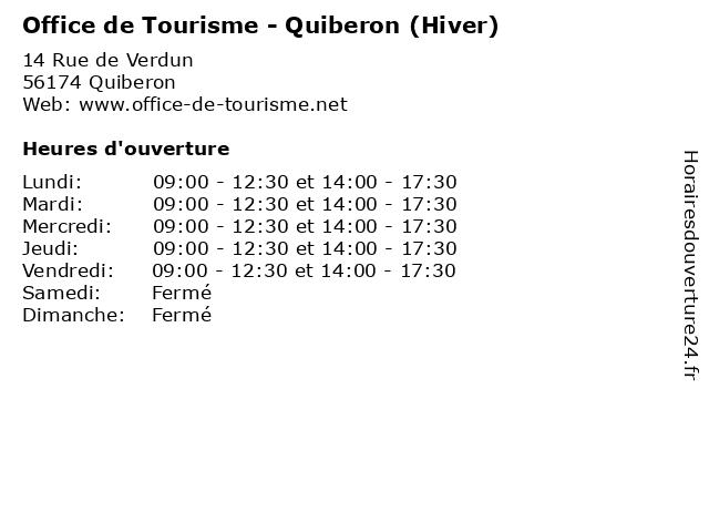 Office de Tourisme - Quiberon (Hiver) à Quiberon: adresse et heures d'ouverture