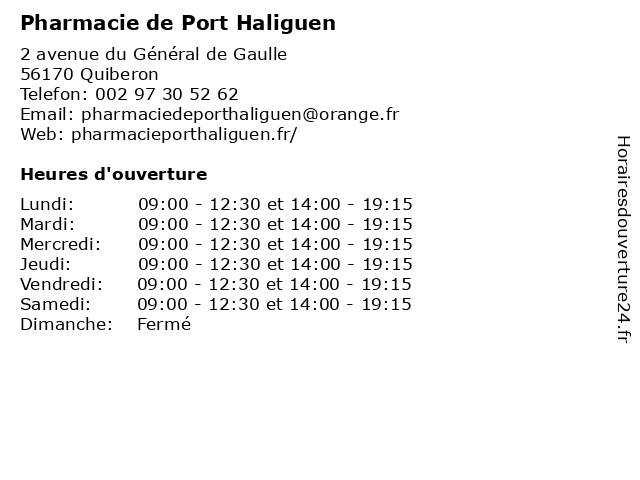 Pharmacie de Port Haliguen à Quiberon: adresse et heures d'ouverture