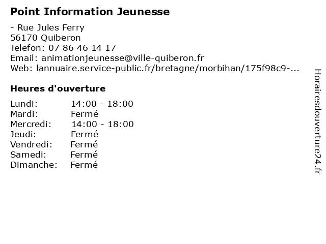 Point Information Jeunesse à Quiberon: adresse et heures d'ouverture