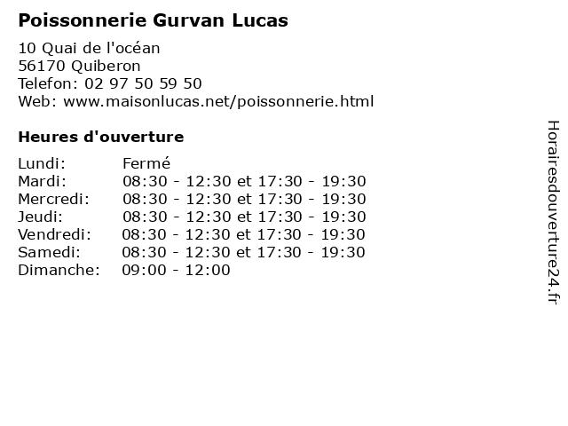 Poissonnerie Gurvan Lucas à Quiberon: adresse et heures d'ouverture