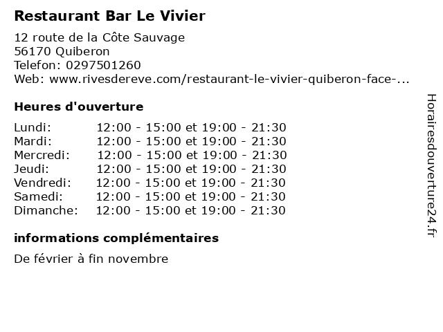 Restaurant Bar Le Vivier à Quiberon: adresse et heures d'ouverture