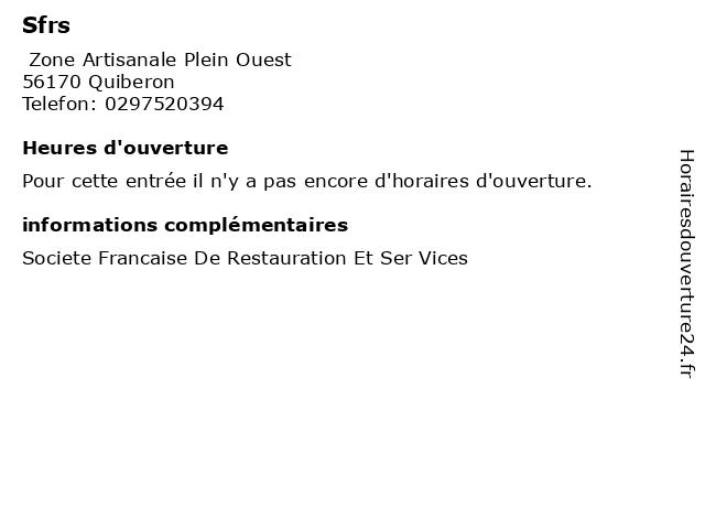 Sfrs à Quiberon: adresse et heures d'ouverture