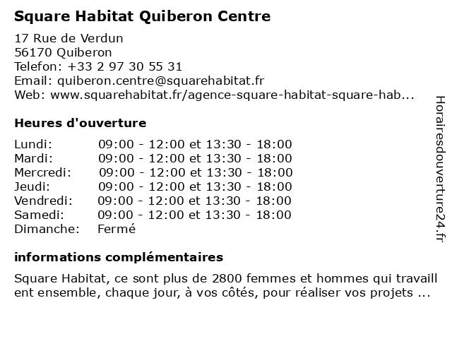 Square Habitat Quiberon Centre à Quiberon: adresse et heures d'ouverture