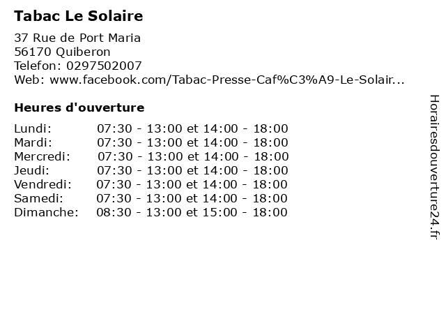 Tabac Le Solaire à Quiberon: adresse et heures d'ouverture