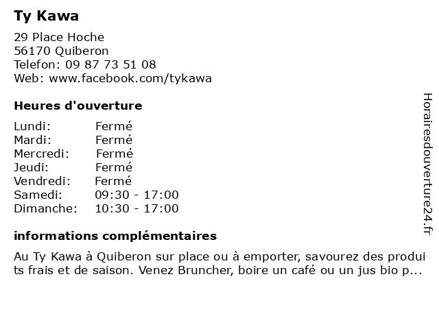 Ty Kawa à Quiberon: adresse et heures d'ouverture