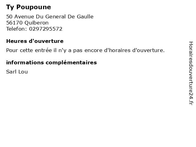 Ty Poupoune à Quiberon: adresse et heures d'ouverture