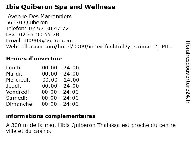ibis Quiberon Spa And Wellness à Quiberon: adresse et heures d'ouverture