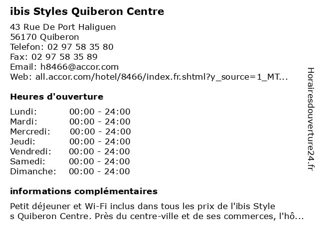 ibis Styles Quiberon Centre à Quiberon: adresse et heures d'ouverture