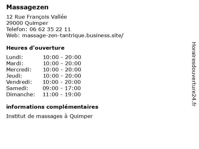 Massagezen à Quimper: adresse et heures d'ouverture