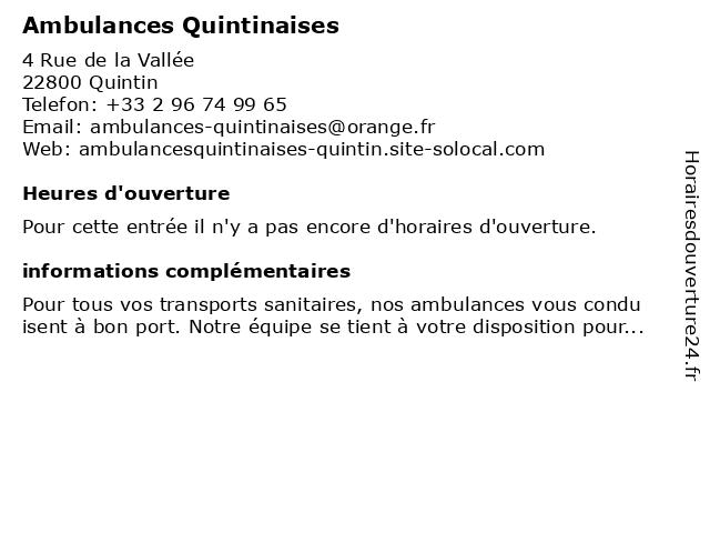Ambulances Quintinaises à Quintin: adresse et heures d'ouverture