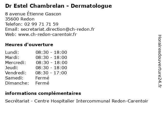 Dr Estel Chambrelan - Dermatologue à Redon: adresse et heures d'ouverture
