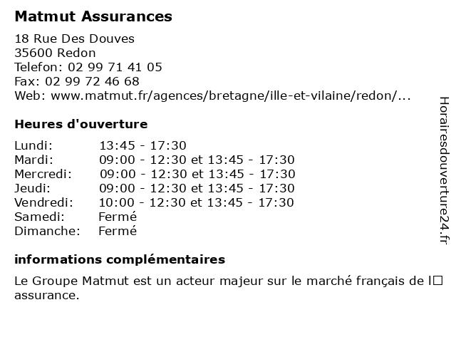 MATMUT à Redon: adresse et heures d'ouverture