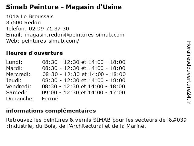 Simab Peinture - Magasin d'Usine à Redon: adresse et heures d'ouverture