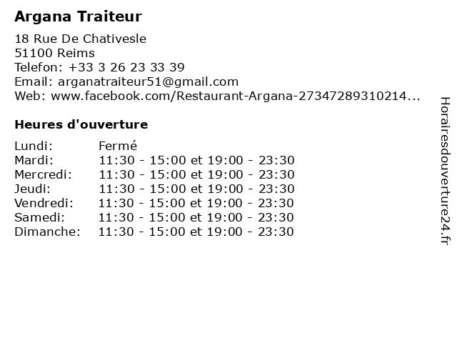 Argana Traiteur à Reims: adresse et heures d'ouverture
