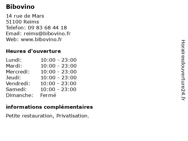 Bibovino à Reims: adresse et heures d'ouverture