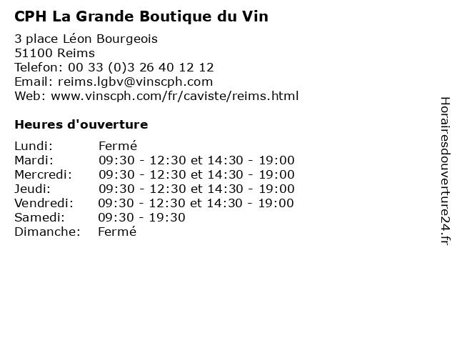 CPH La Grande Boutique du Vin à Reims: adresse et heures d'ouverture