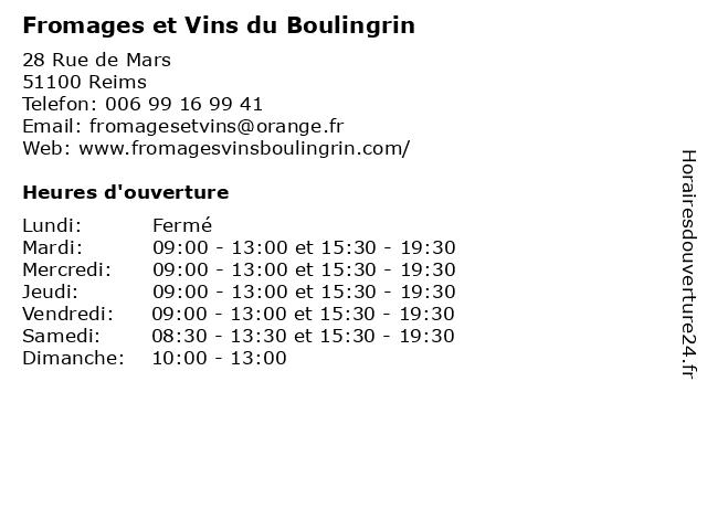 Fromages et Vins du Boulingrin à Reims: adresse et heures d'ouverture