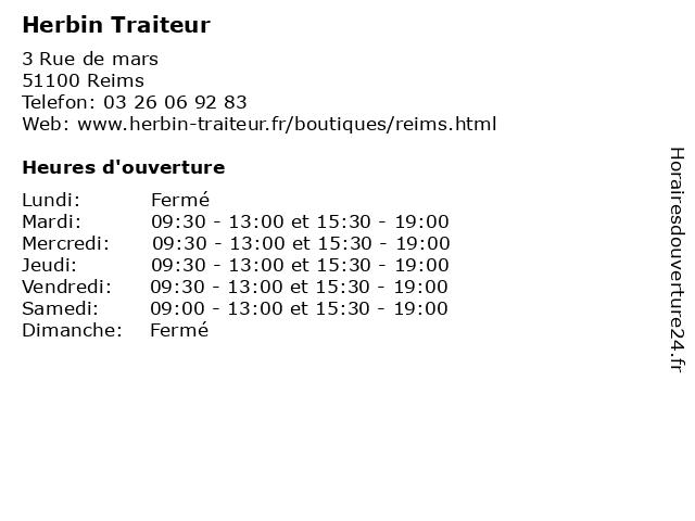 Herbin Traiteur à Reims: adresse et heures d'ouverture