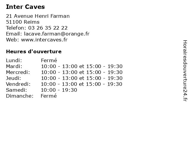Inter Caves à Reims: adresse et heures d'ouverture