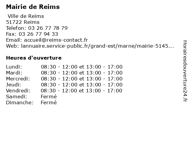 Mairie de Reims à Reims: adresse et heures d'ouverture