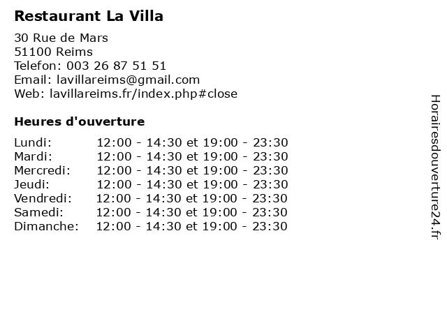 Restaurant La Villa à Reims: adresse et heures d'ouverture