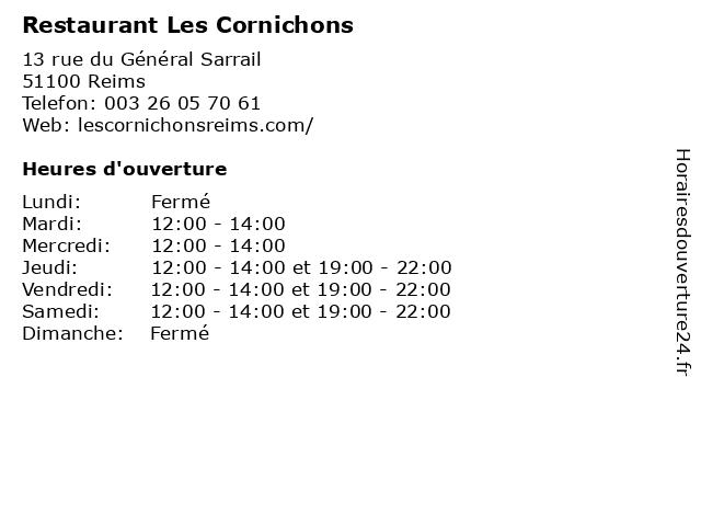 Restaurant Les Cornichons à Reims: adresse et heures d'ouverture