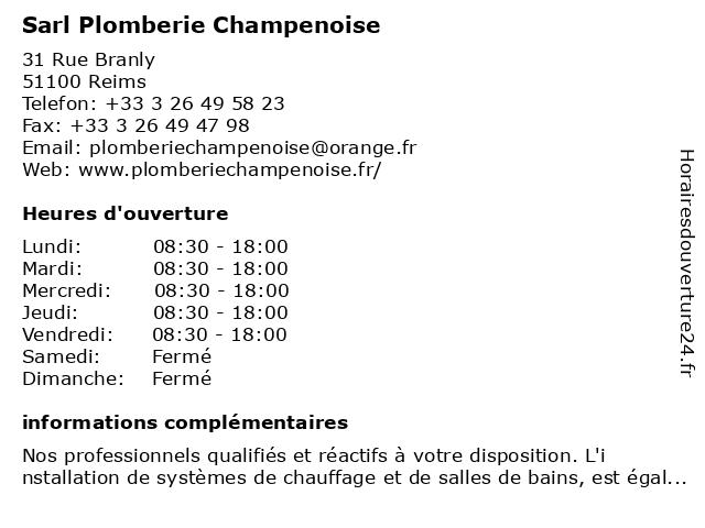 ? Sarl Plomberie Champenoise ? Horaires d'ouverture | 31 Rue Branly à Reims