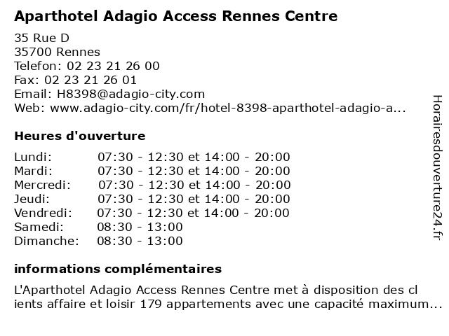 Aparthotel Adagio access Rennes Centre à Rennes: adresse et heures d'ouverture