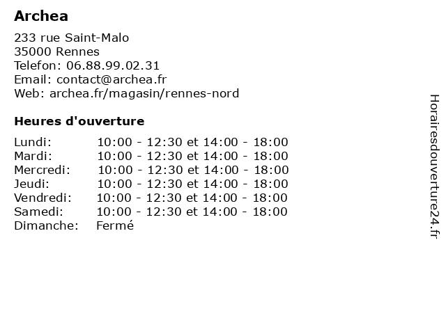 Archea à Montgermont: adresse et heures d'ouverture