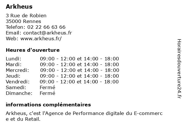 Arkheus à Rennes: adresse et heures d'ouverture