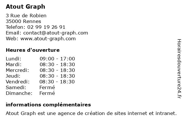 Atout Graph à Rennes: adresse et heures d'ouverture