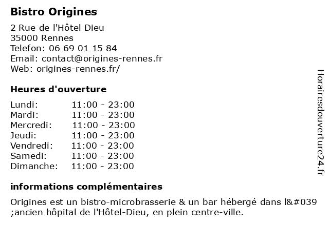 Bistro Origines à Rennes: adresse et heures d'ouverture