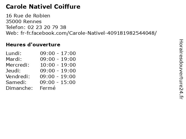 Carole Nativel Coiffure à Rennes: adresse et heures d'ouverture