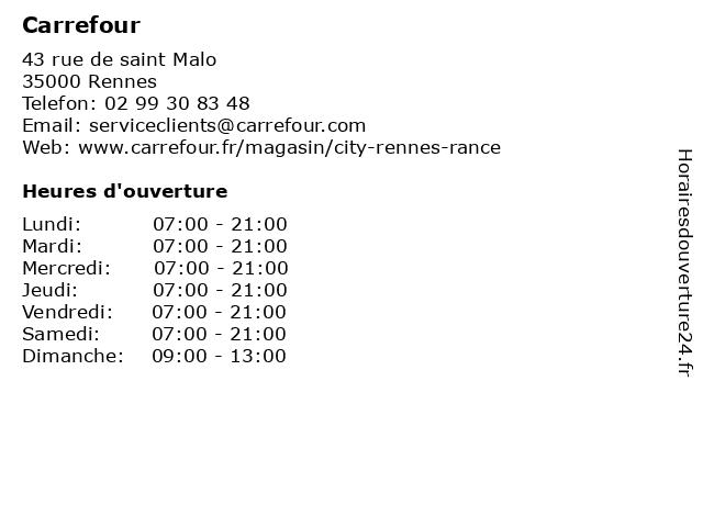 Carrefour à Rennes: adresse et heures d'ouverture