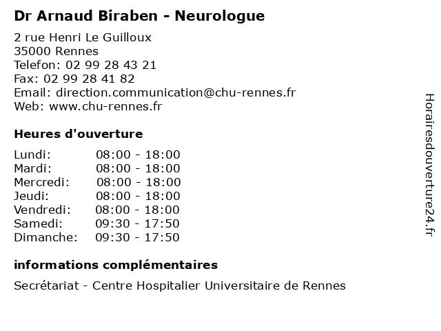 Dr Arnaud Biraben - Neurologue à Rennes: adresse et heures d'ouverture