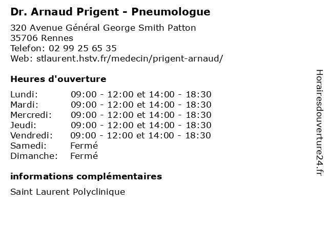 Dr. Arnaud Prigent - Pneumologue à Rennes: adresse et heures d'ouverture