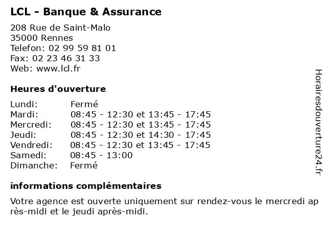 LCL - Banque & Assurance à Rennes: adresse et heures d'ouverture