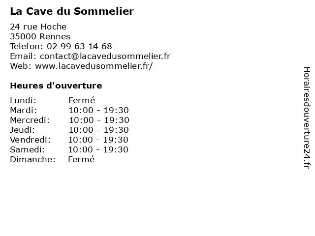 La Cave du Sommelier à Rennes: adresse et heures d'ouverture